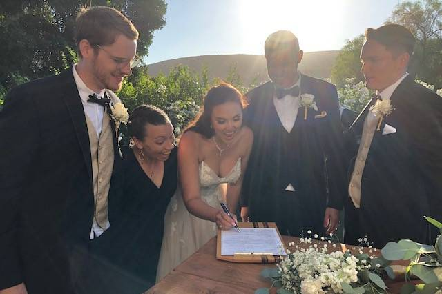 Signing the marriage license!