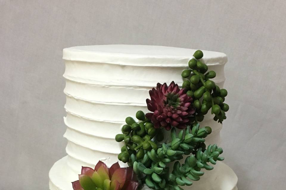 Textured Cake and Succulents