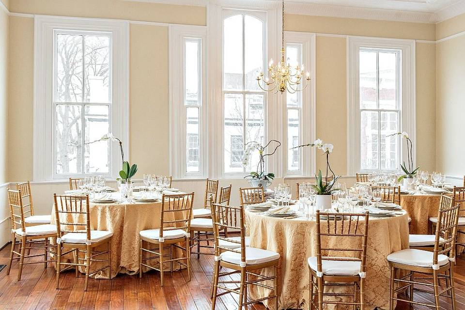 Elegant and airy, the space provides a stunning venue for your event.