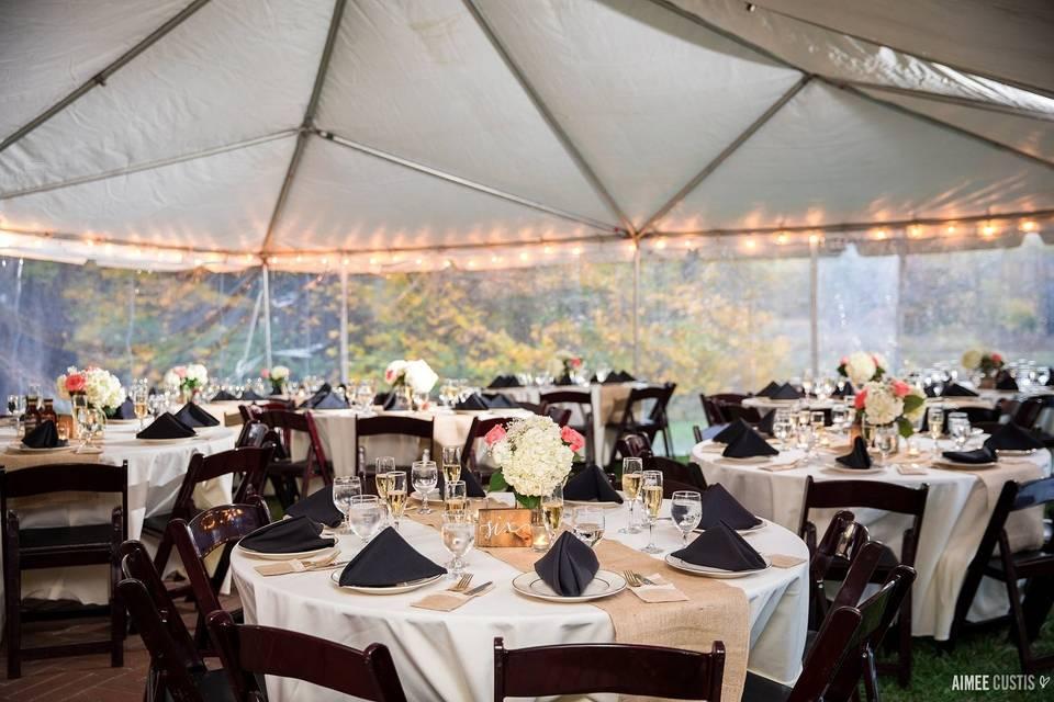 White Frame Tent Set Up