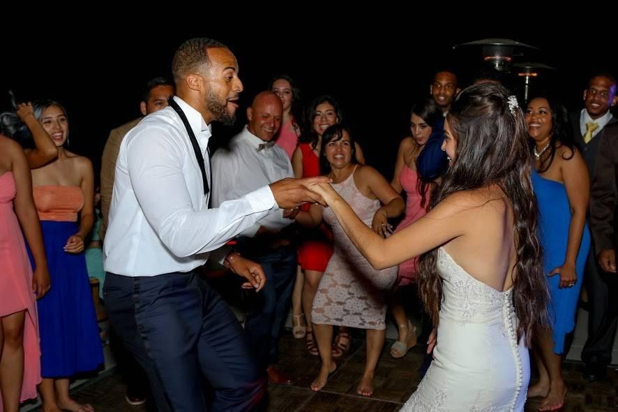 Dancing newly wed couple