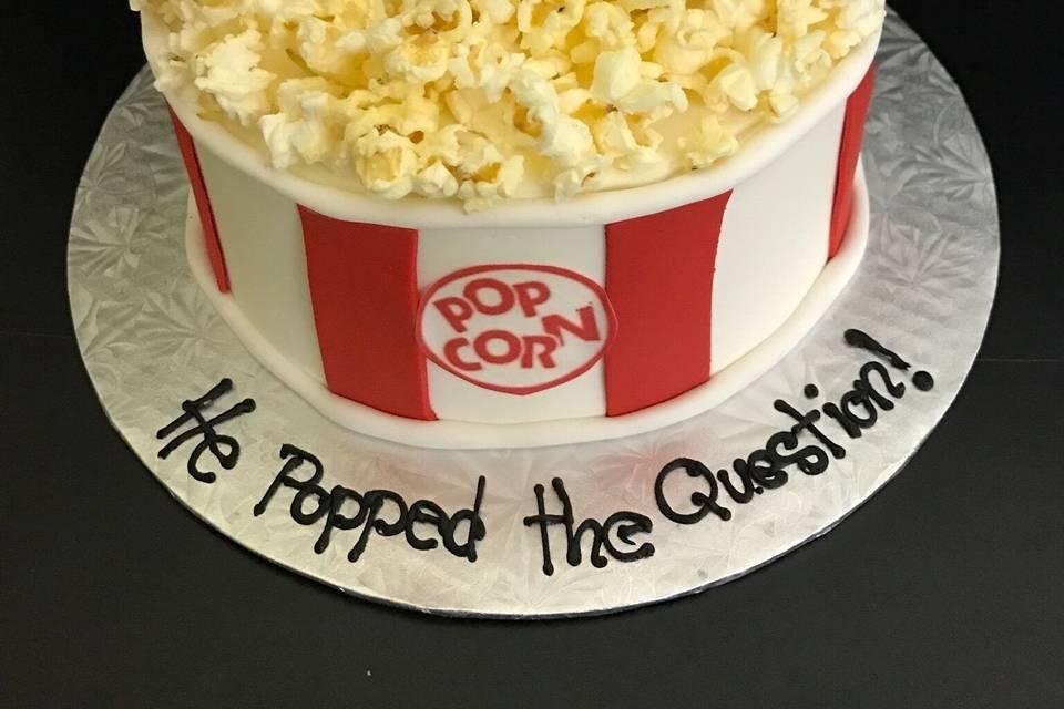 Popcorn engagement cake