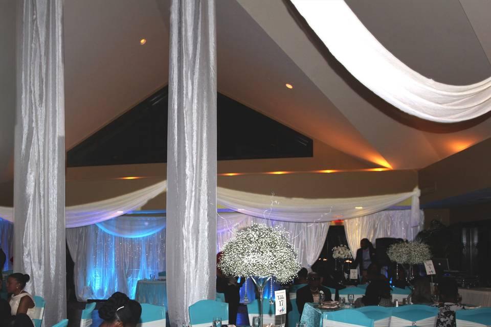 Draping, decor, lighting