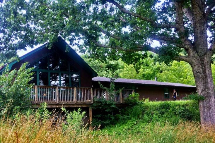 Our lodge has a large deck, a covered porch, and large lawns for outdoor events—all with stunning views.