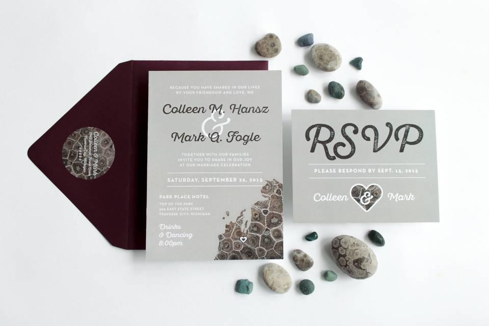 Beige theme invitation