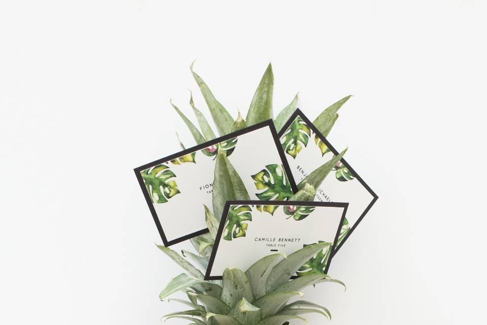 Tropical wedding escort cards