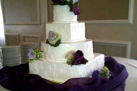 White angled cake