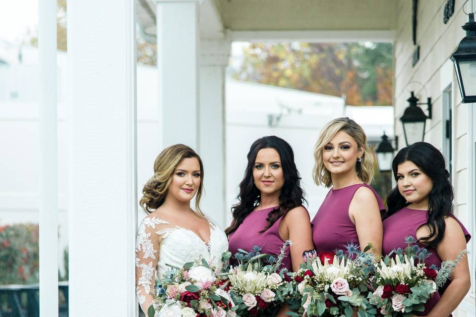 Wedding party dressed in purple