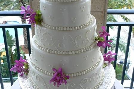 Purple orchids on a cake
