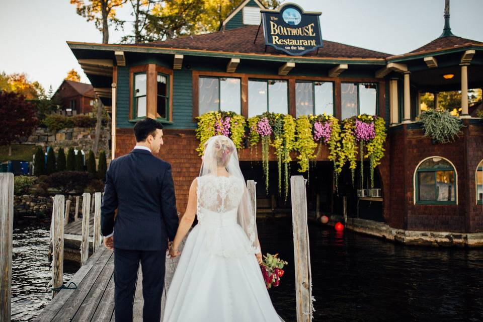 Newlyweds at the dock