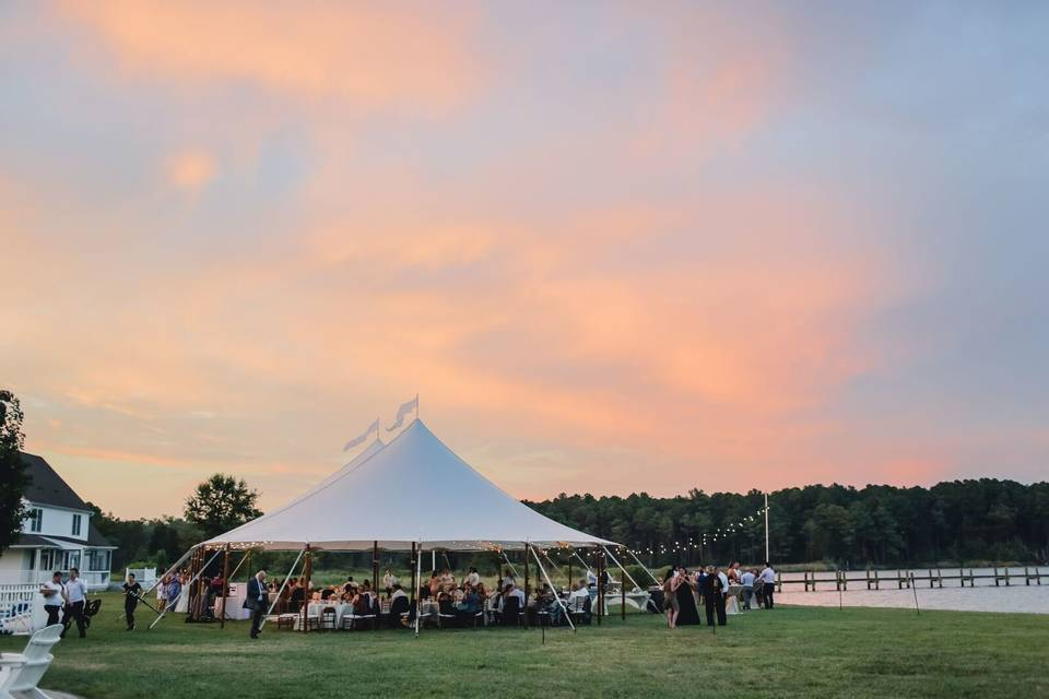 Covered outdoor wedding