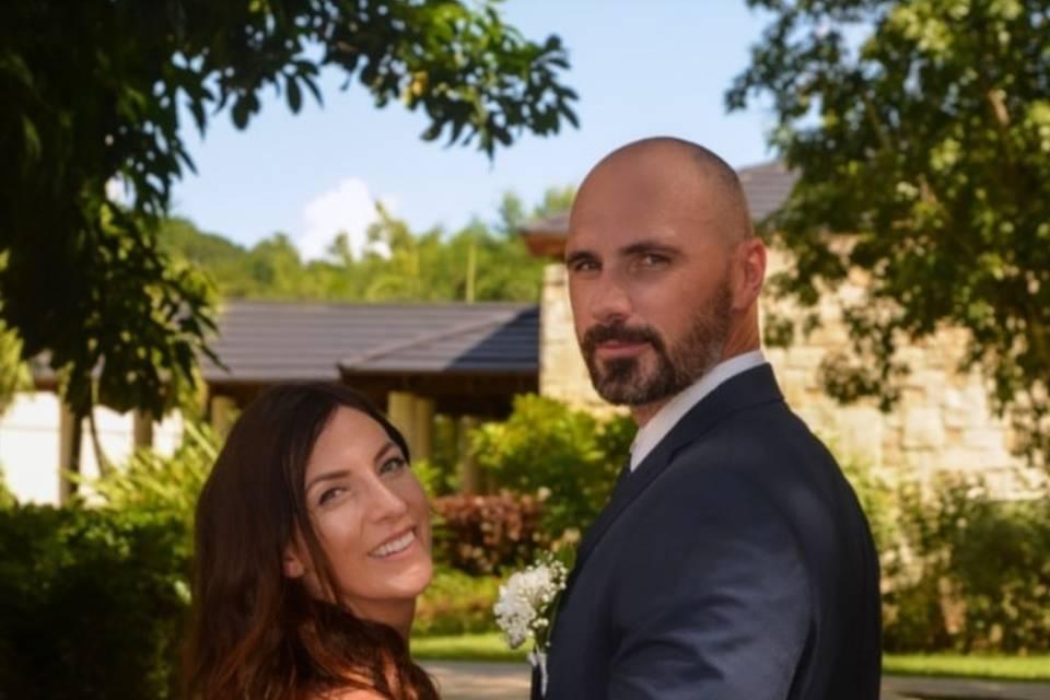 Newlyweds pose