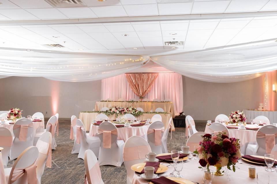 Superior Ballroom with head table backdrop