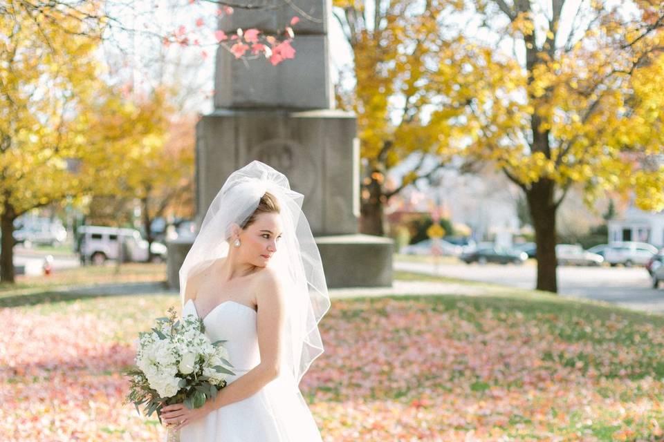 Bride in fall