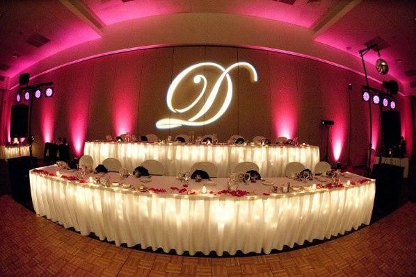 Elegant monograms and beautiful up-lighting