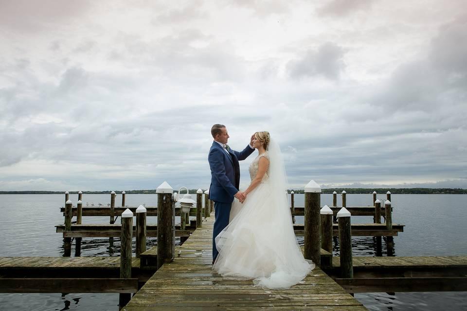 Newlyweds at the docks