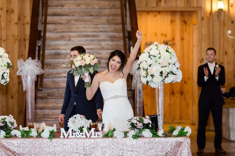 Newlyweds entrance