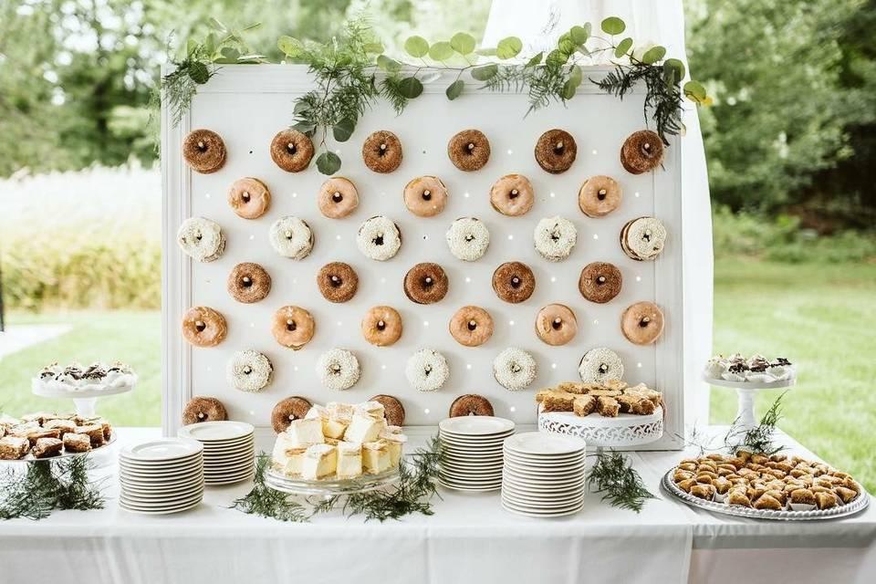 Donut wall and dessert bar