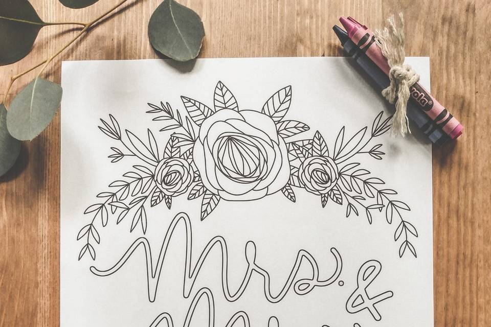 Mrs and Mrs coloring page