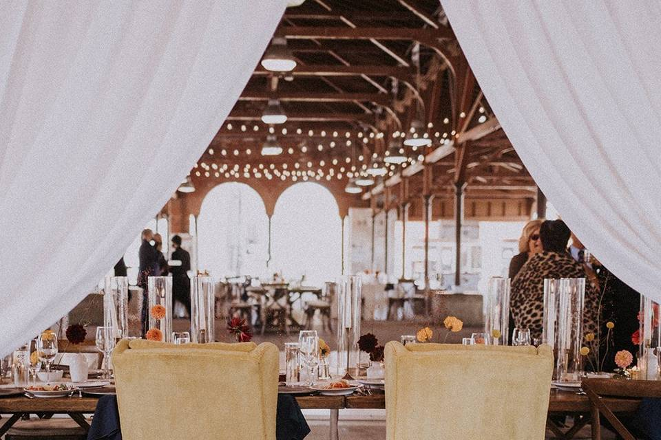 Head table with vintage chairs