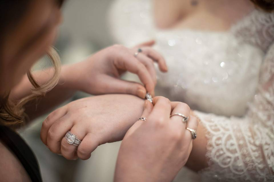 Bride's finally touch