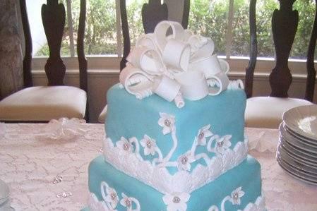 Square Fondant Cake with Gumpaste Flowers