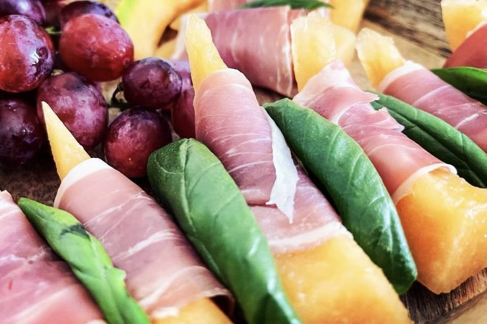 Prosciutto-wrapped cantelope