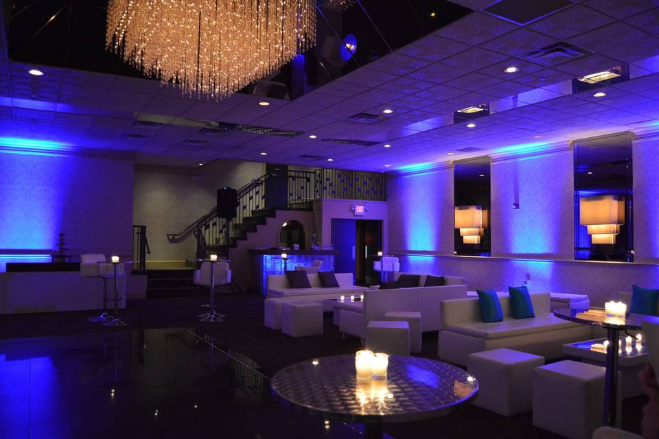 Blue lounge uplights