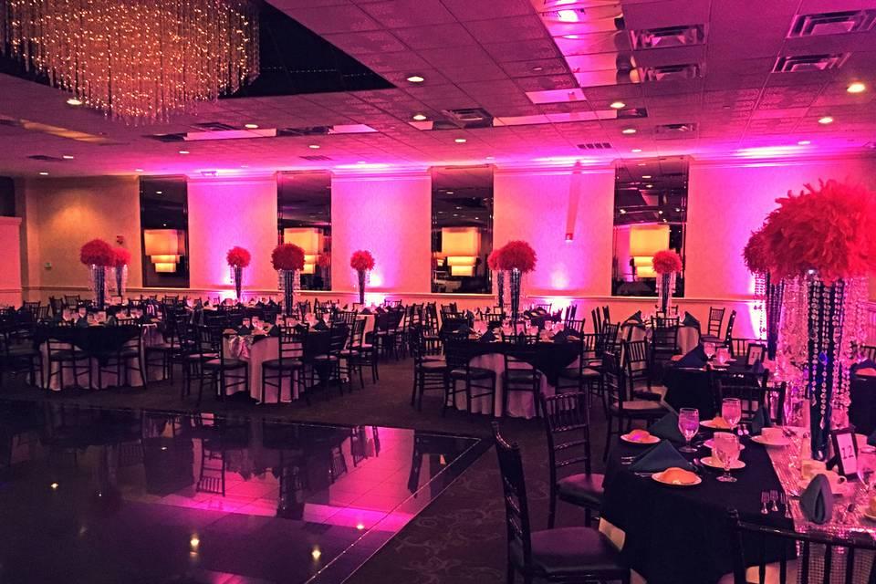 Pink reception hall lighting
