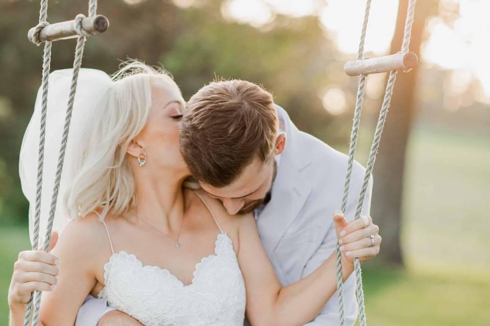 Bride and Groom on Swing