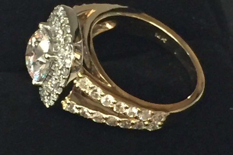 Custom made split shank Halo ring.