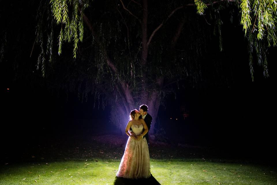 Spotlight bride and groom