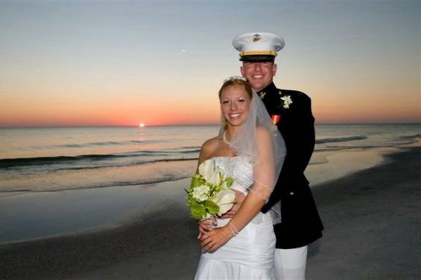Military couple wedding