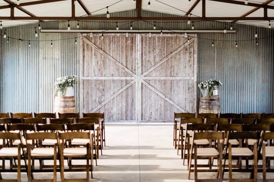 Barn wedding setup