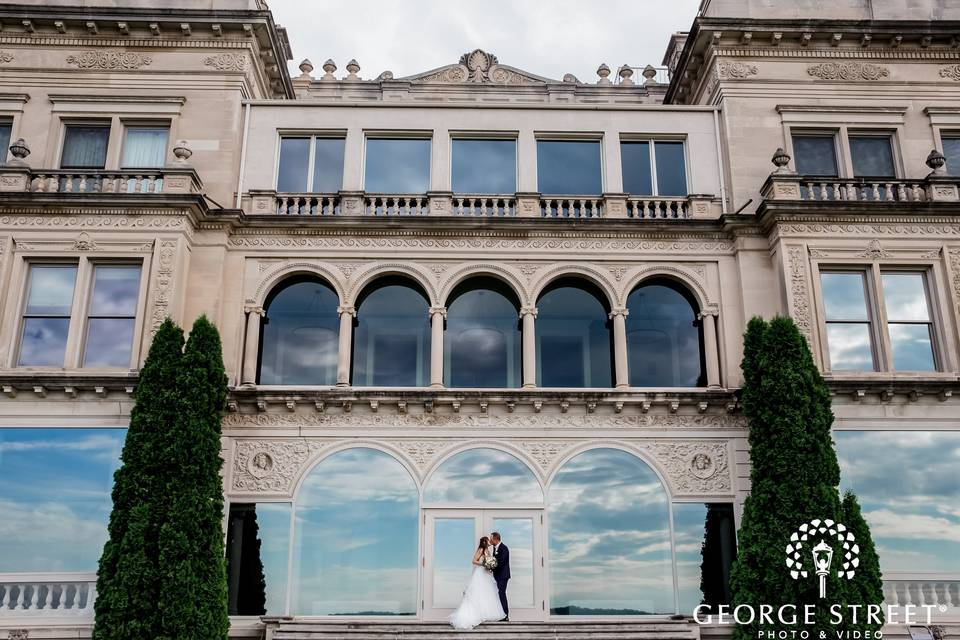 Bride and Groom at Mansion