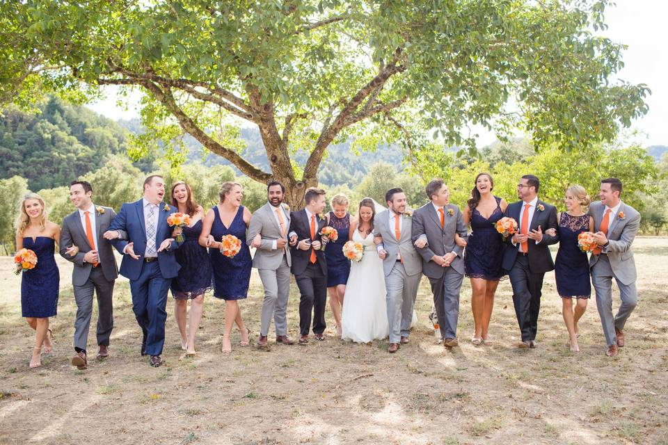Couple with the wedding party