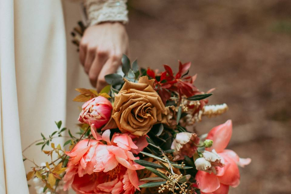 Colorful spring bridal bouquet