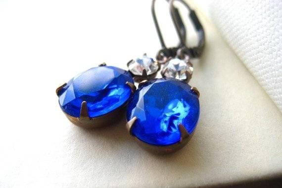 Something Blue Rhinestone Earrings