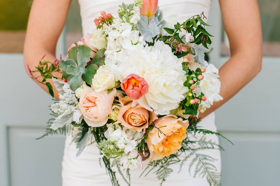 Peach themed bouquet