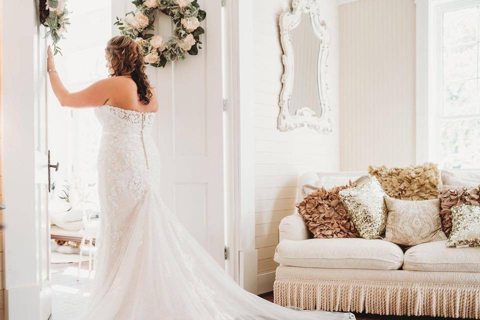 Beautiful wedding gown trail