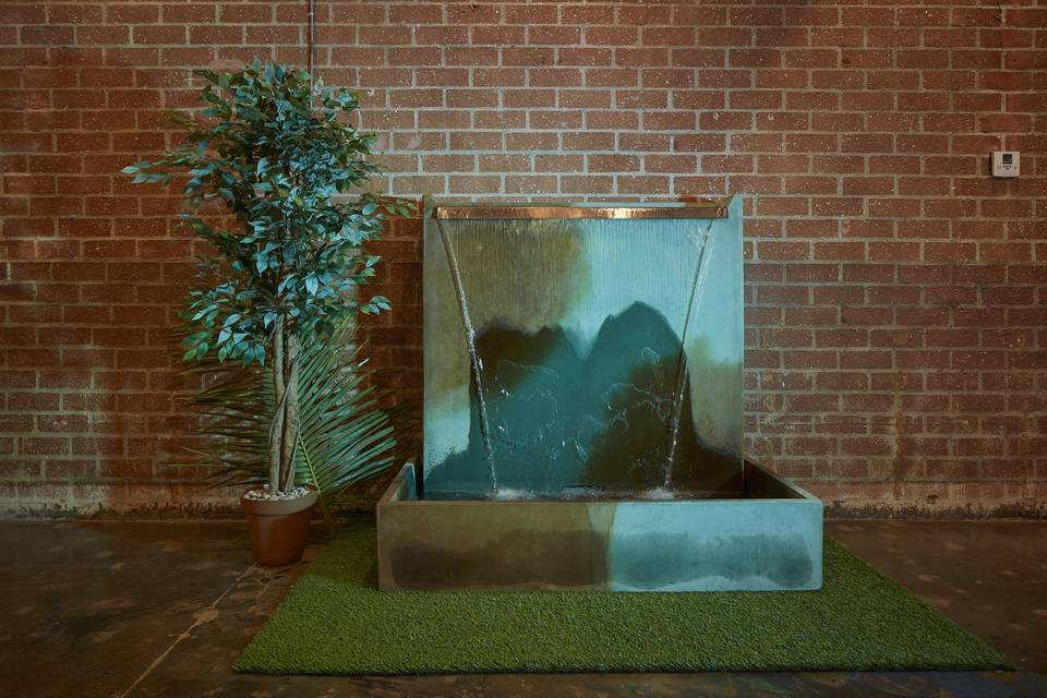 Soothing concrete waterfall