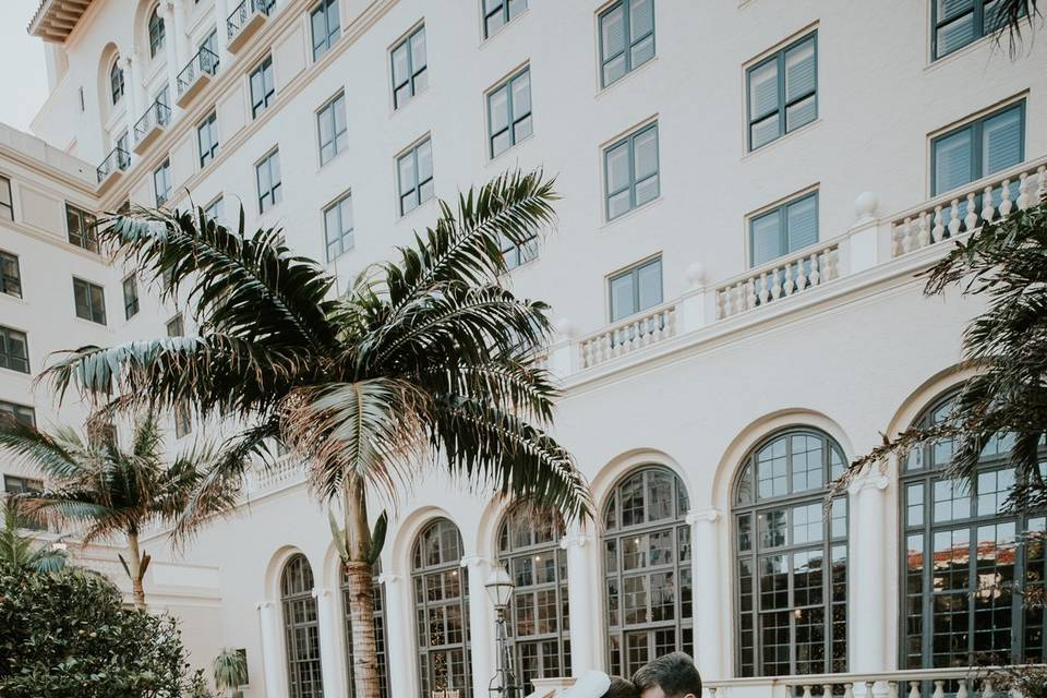 Newlyweds outside The Breakers