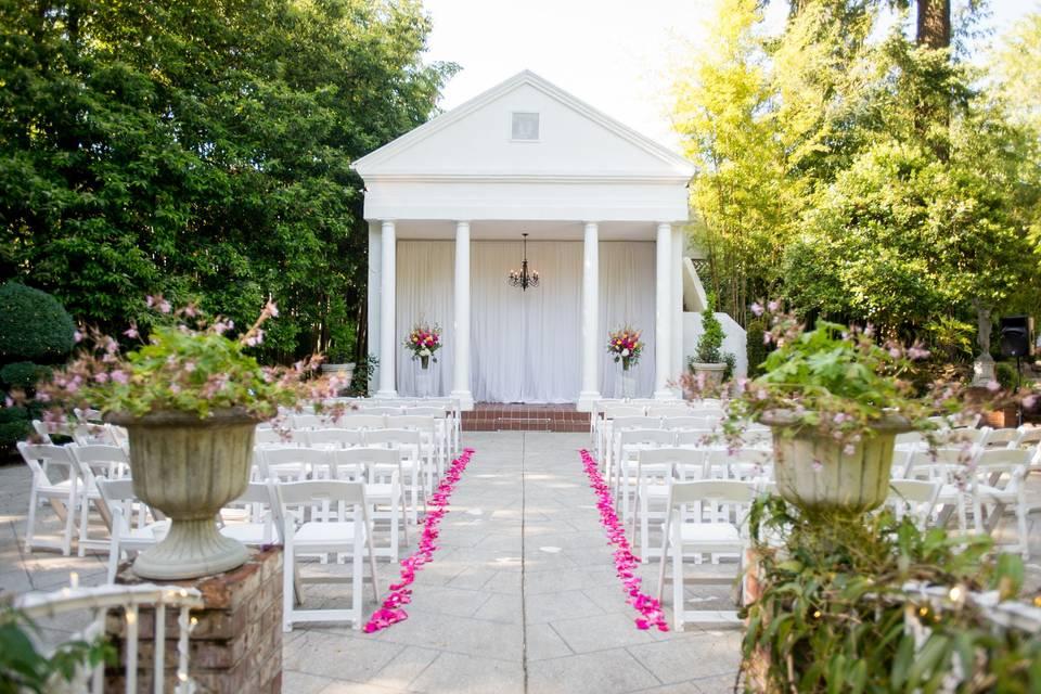 Wedding ceremony reception outside