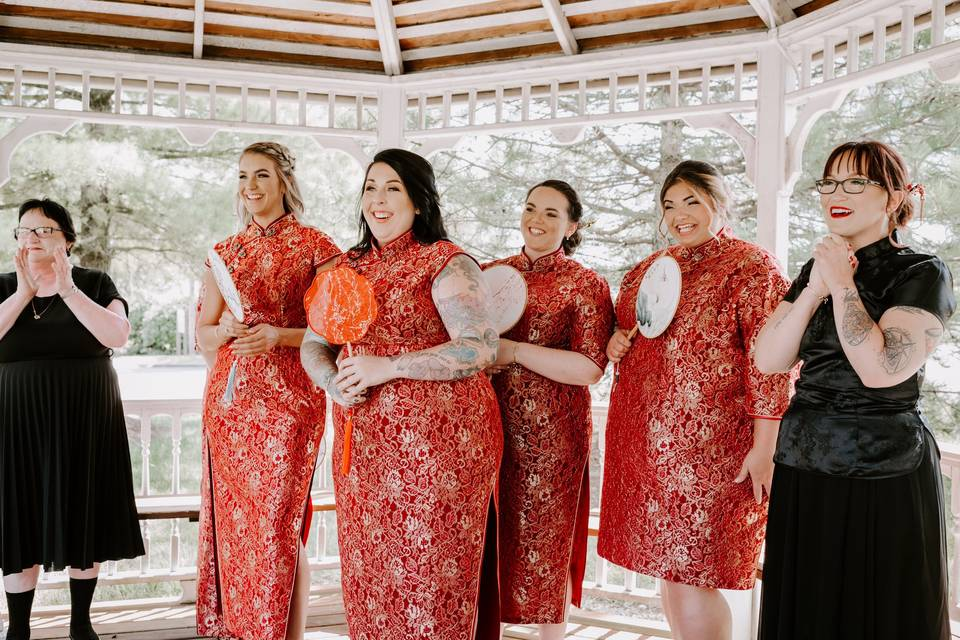 Kats bridesmaids and officiant