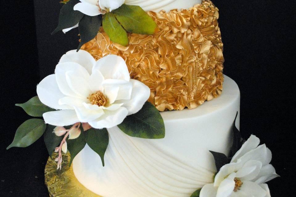 Gold magnolia cake