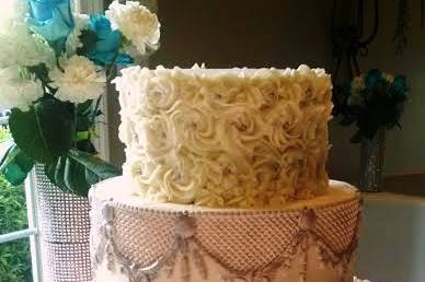 Three Tier Buttercream Cake with Silver Sugar Details
