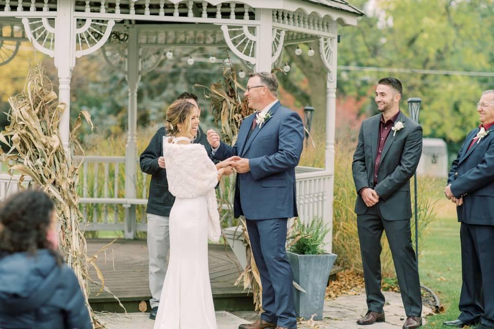 Fall wedding at the gazebo