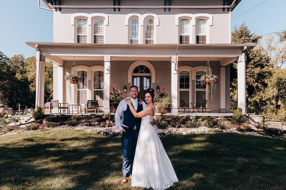 Bride and Groom at front porch