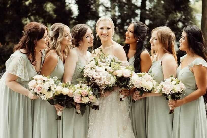 Doting bridesmaids