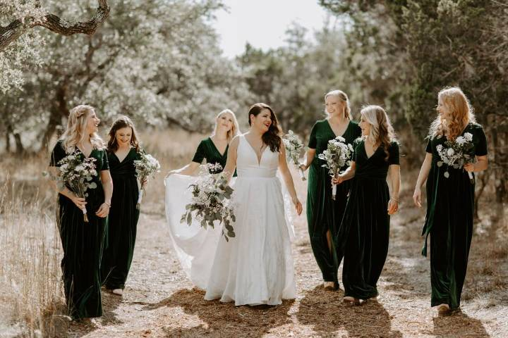 The bridal party on 20 acres